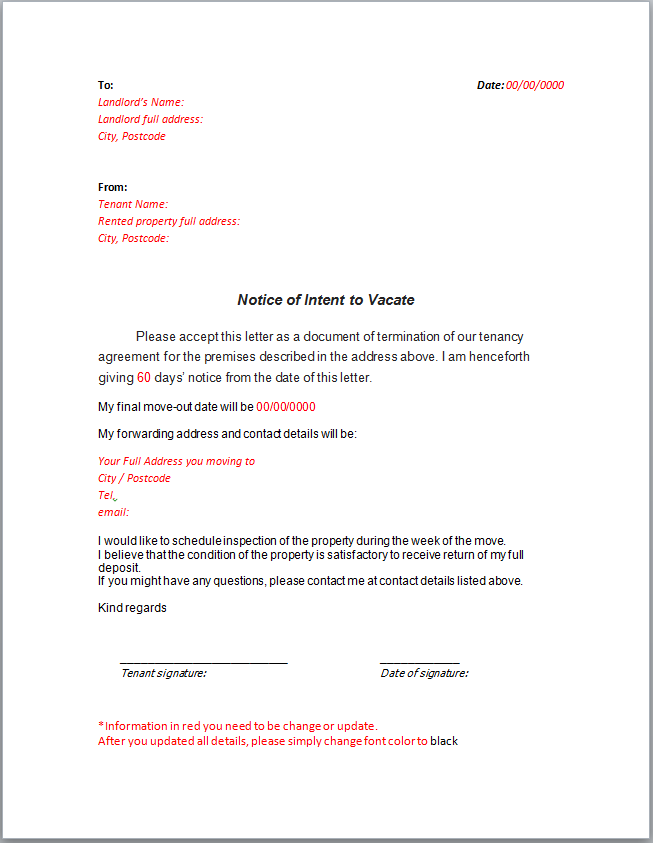 Sample Notice Letter to Landlord