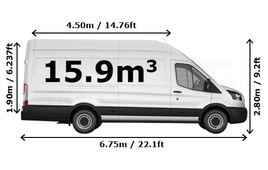 Removals Extra Large Van and Man Hire Mill Meads - Dimension Side View