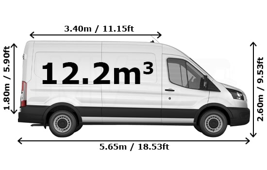 Removals Large Van and Man Hire De Beauvoir Town - Dimension Side View