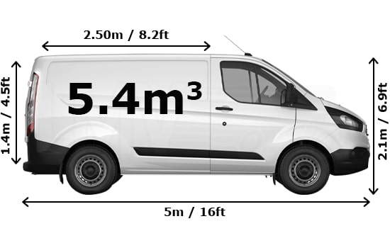 Removals Medium Van and Man Hire  - Dimension Side View
